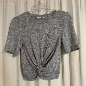 Aritzia Wilfred Free Grey Crop Top with Knot Front